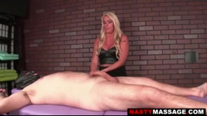 Perfect blonde masseuse riding her client